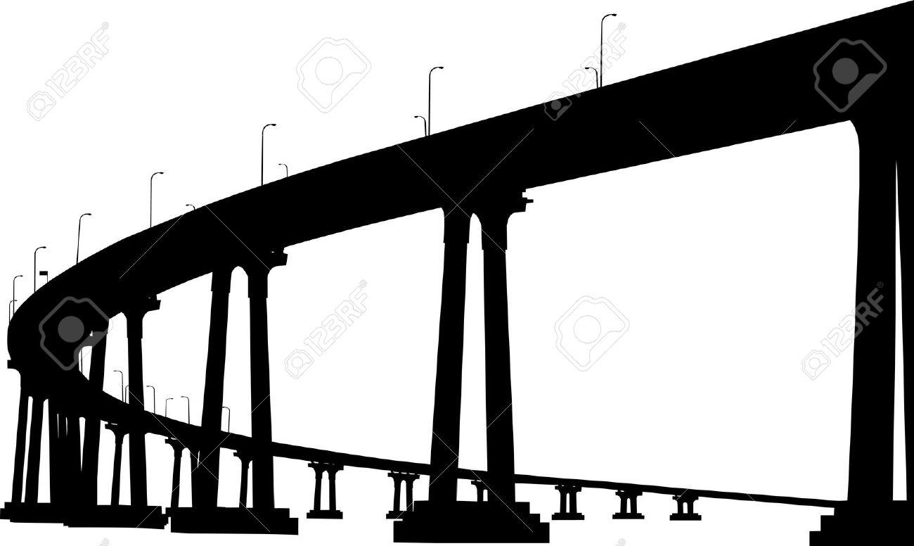 Silhouette of San Diego Coronado bridge - 13109019
