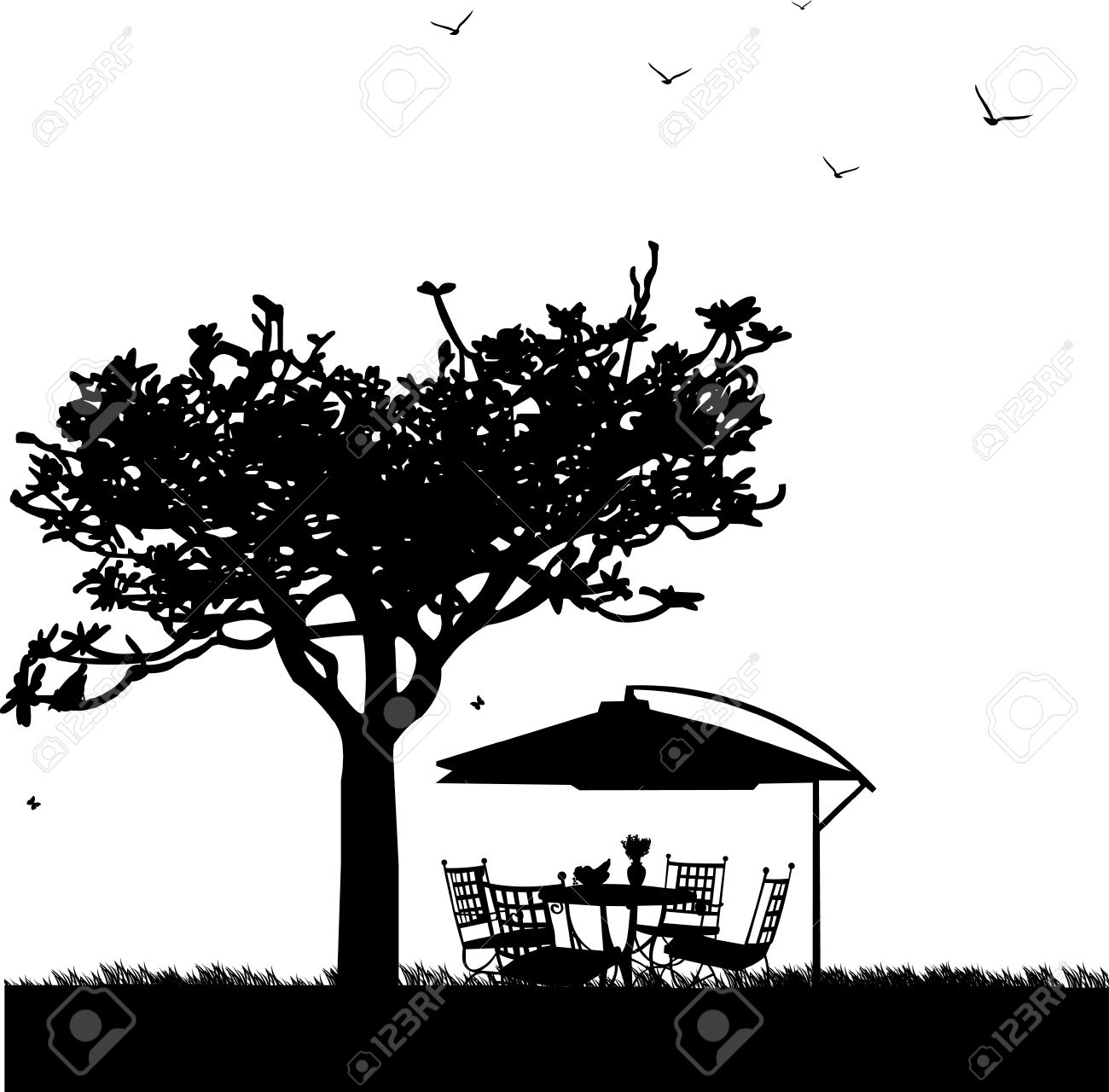 Garden furniture with bowl of fruit, bouquet hyacinths in vase and parasol in garden silhouette, one in the series of similar images Stock Vector - 13146849