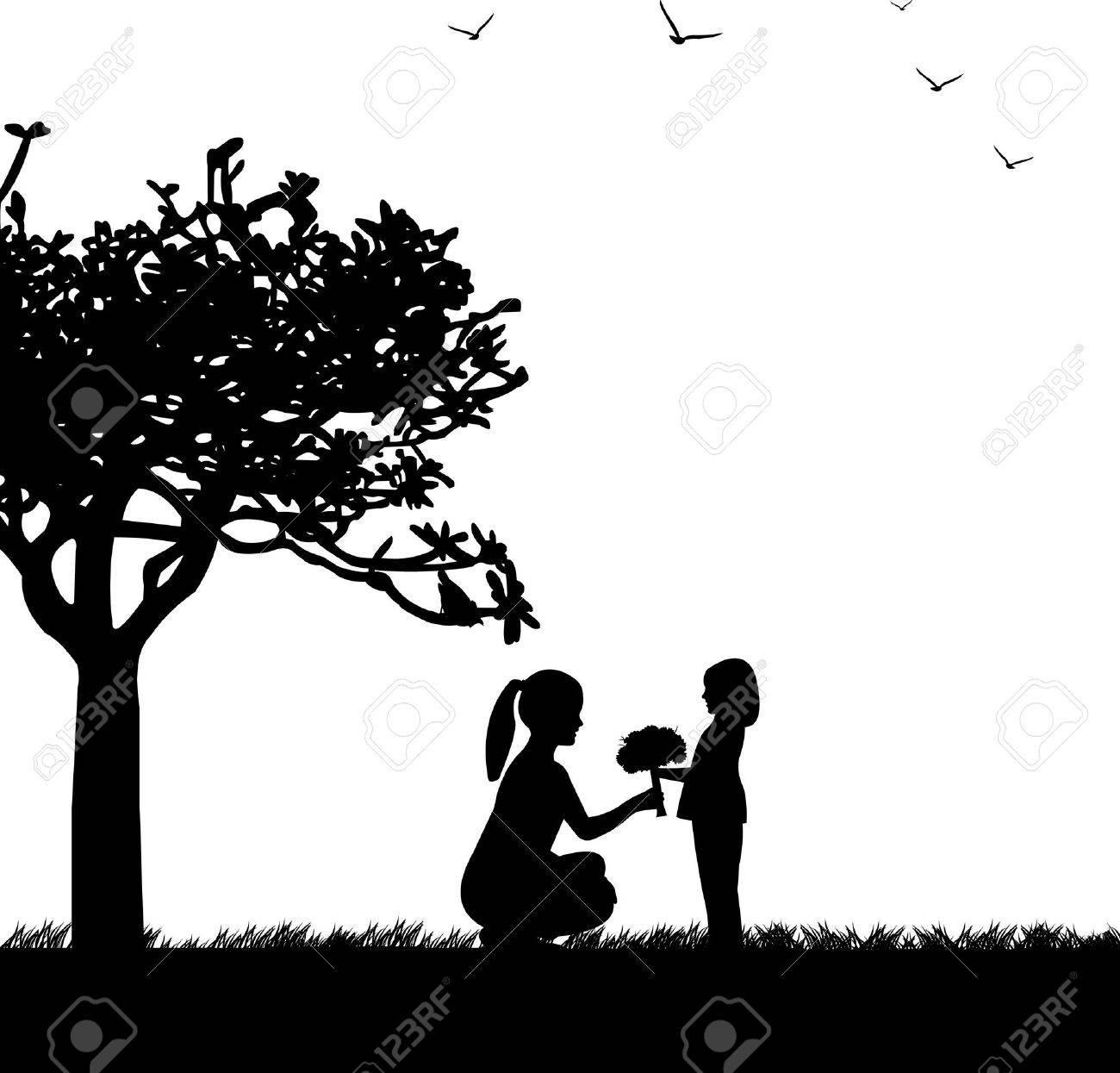 Mother s day celebration between mother and daughter in park, beautiful concept wallpaper for happy mother s day celebration, one in the series of similar images silhouette Stock Vector - 13270986