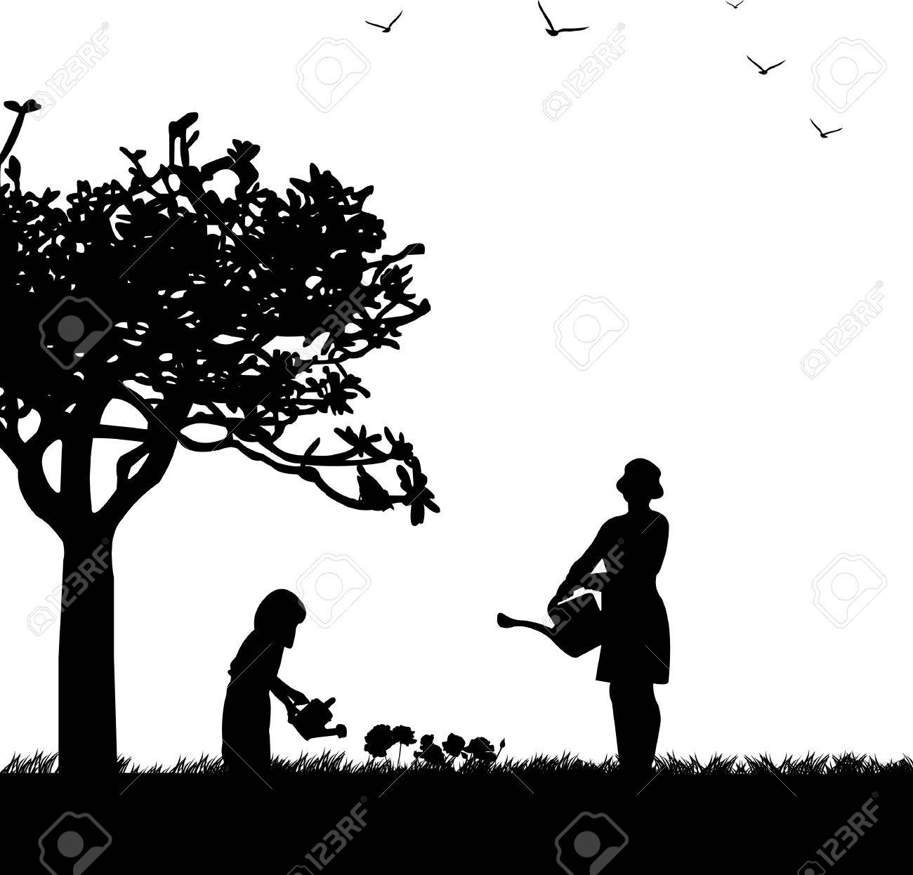 Mother s day celebration between mother and daughter in park, beautiful concept wallpaper for happy mother s day celebration, one in the series of similar images silhouette Stock Vector - 13270989