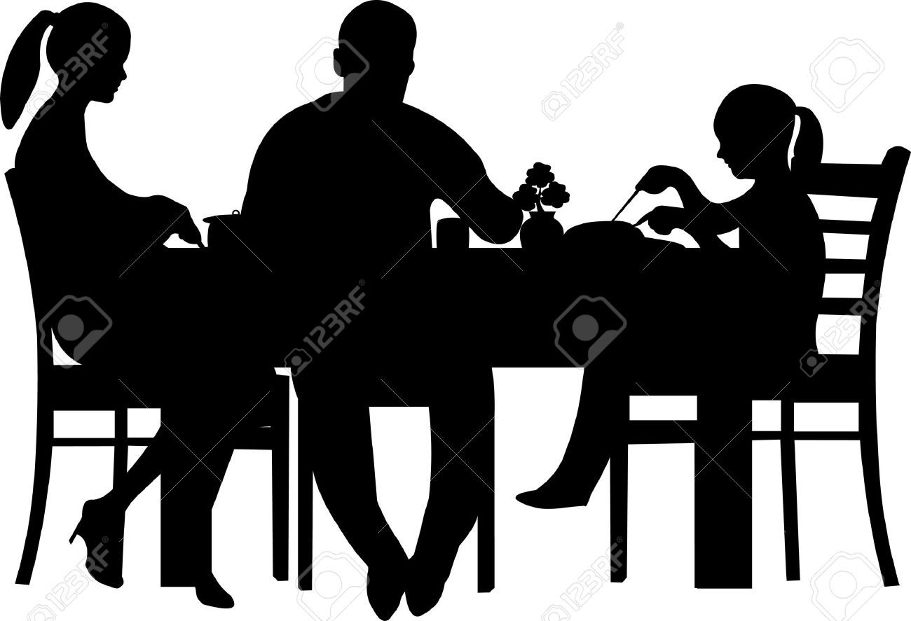 Family having their dinner at the table silhouette - 13333352