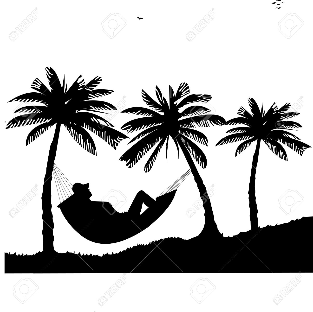 Silhouette Of Girl Sunbathing And Relaxing Hammock Under The Palm Trees On Beach One