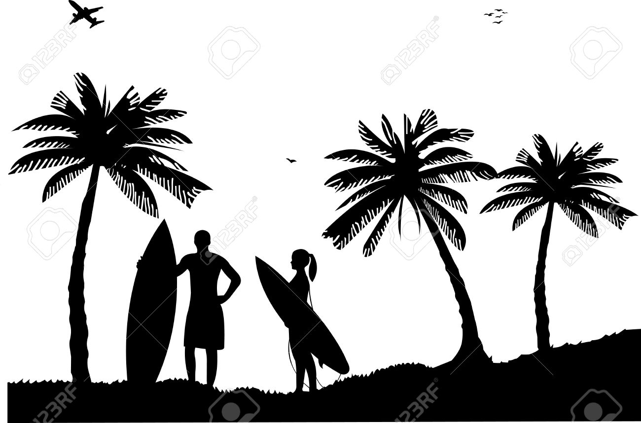 Beautiful young surfer girl and man standing on the beach between the palms silhouette, one in the series of similar images Stock Vector - 13552806