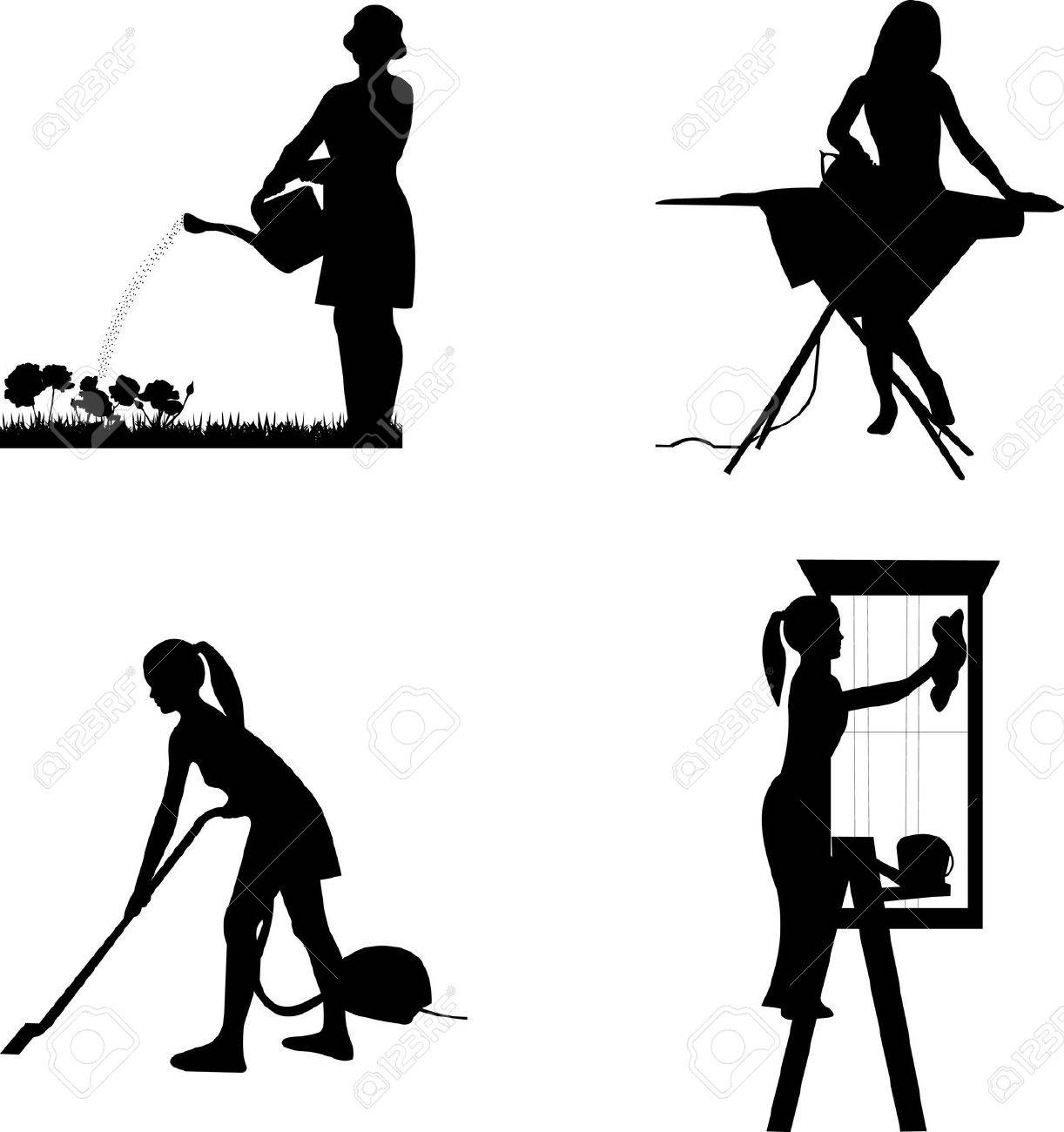 Girls And Housewives In Different Jobs Silhouette Royalty Free ...