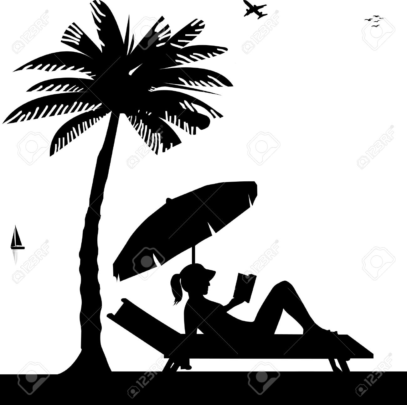 Silhouette of girl sunbathing and reading a book on the beach next to the palms, one in the series of similar images Stock Vector - 14114273