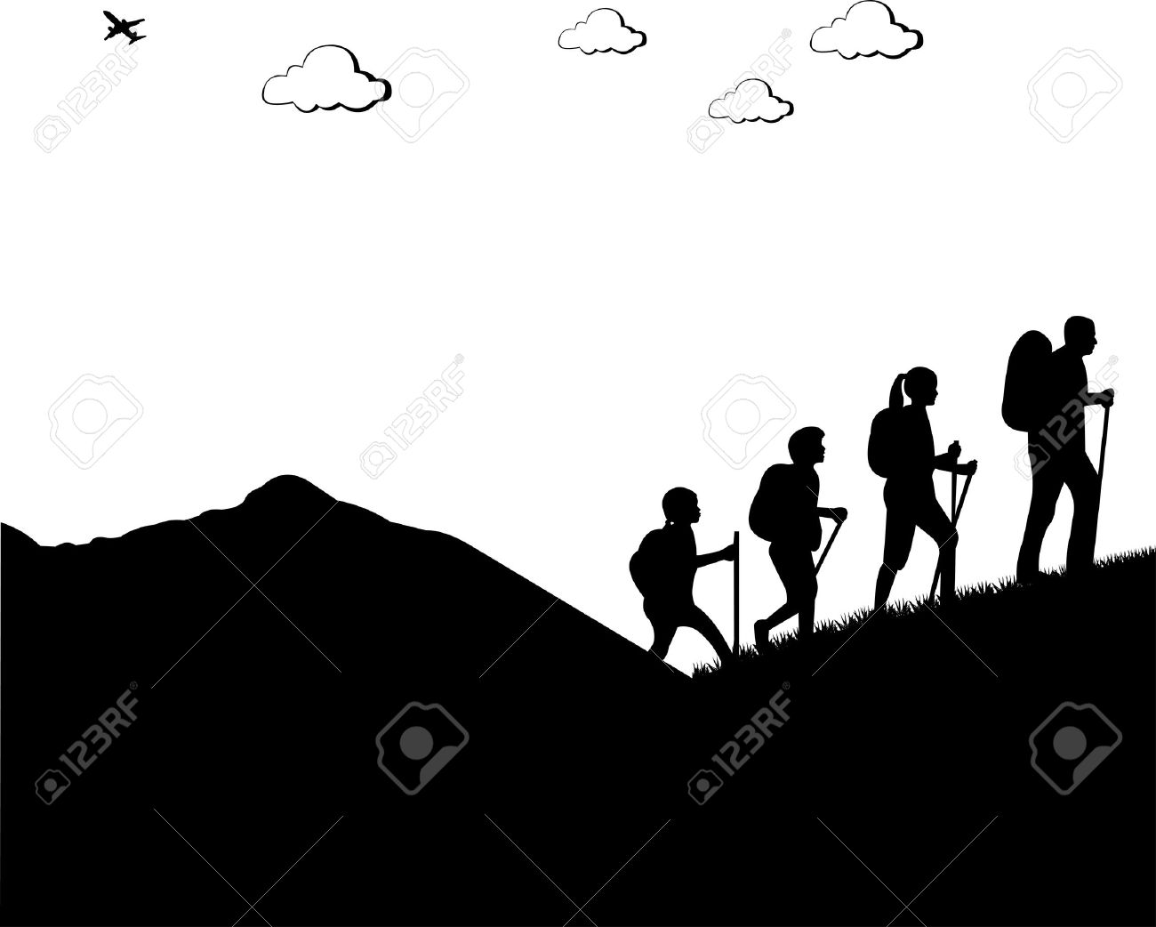 Mountain Climbing Hiking Family With Rucksacks Silhouette One In The Series Of Similar Images