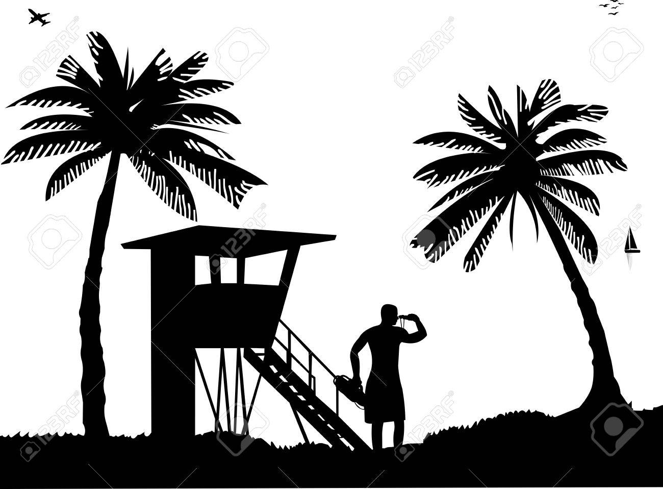 Lifeguard chair cartoon - Lifeguards On The Beach And Beach Watch Tower On Seashore Silhouette Stock Vector 14500956