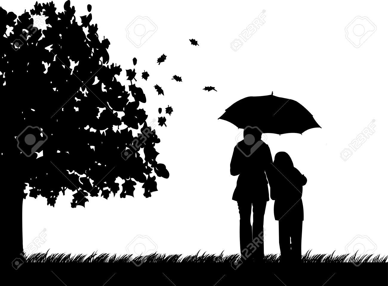 母と娘秋 秋のシルエットの壁紙の美しいコンセプトの傘の下で公園を歩くのイラスト素材 ベクタ Image