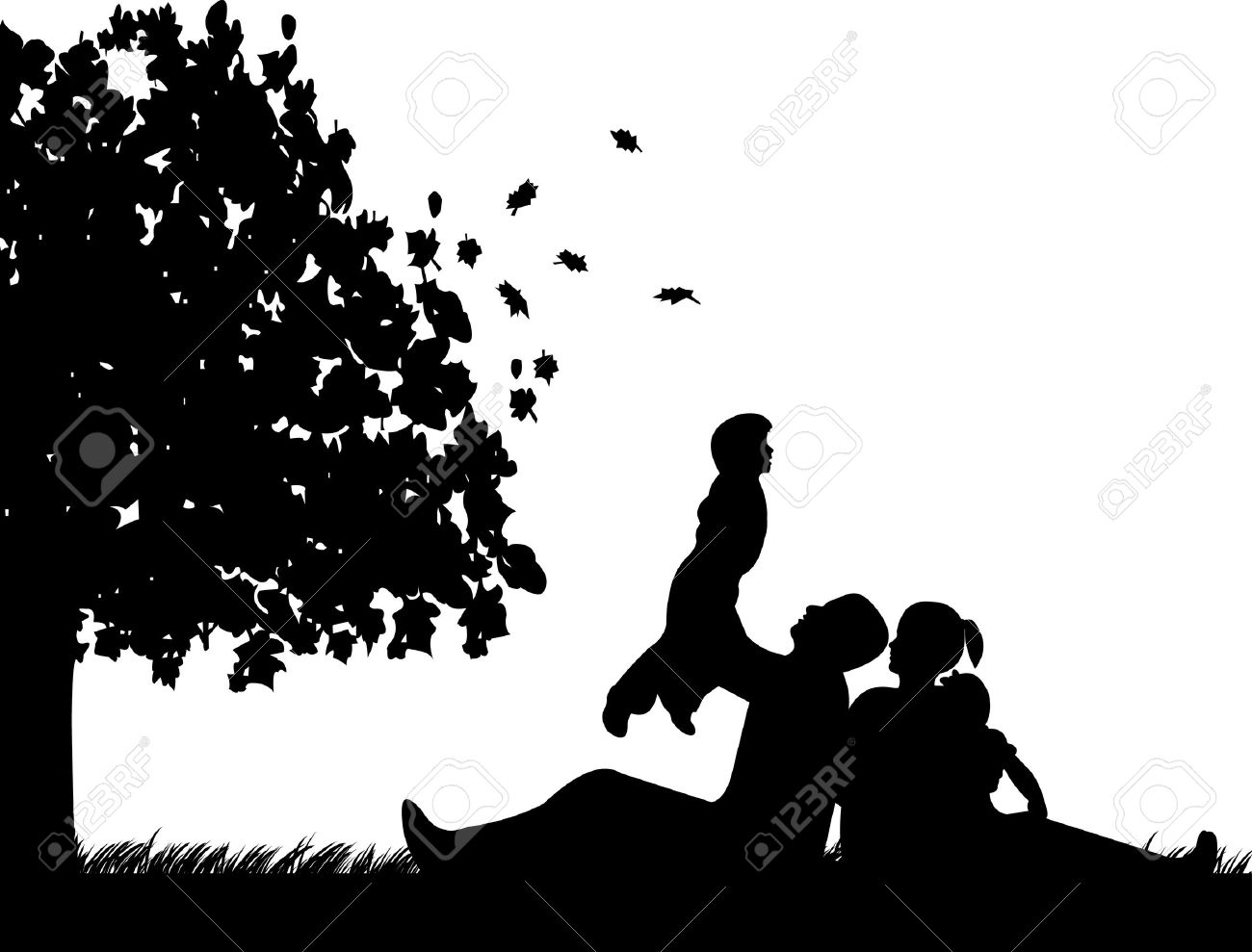 Family picnic in park in autumn or fall under the tree silhouette Stock Vector - 14800053