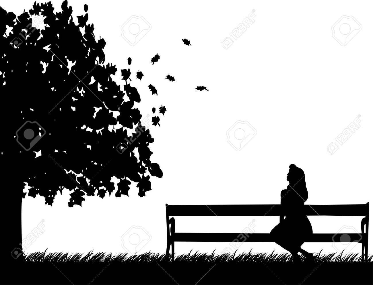 Girl Sitting On A Park Bench Waiting For Someone To Fall Or