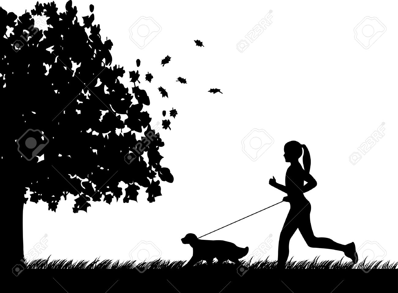 Girl running a dog in park in autumn or fall silhouette, one in the series of similar images Stock Vector - 15048763