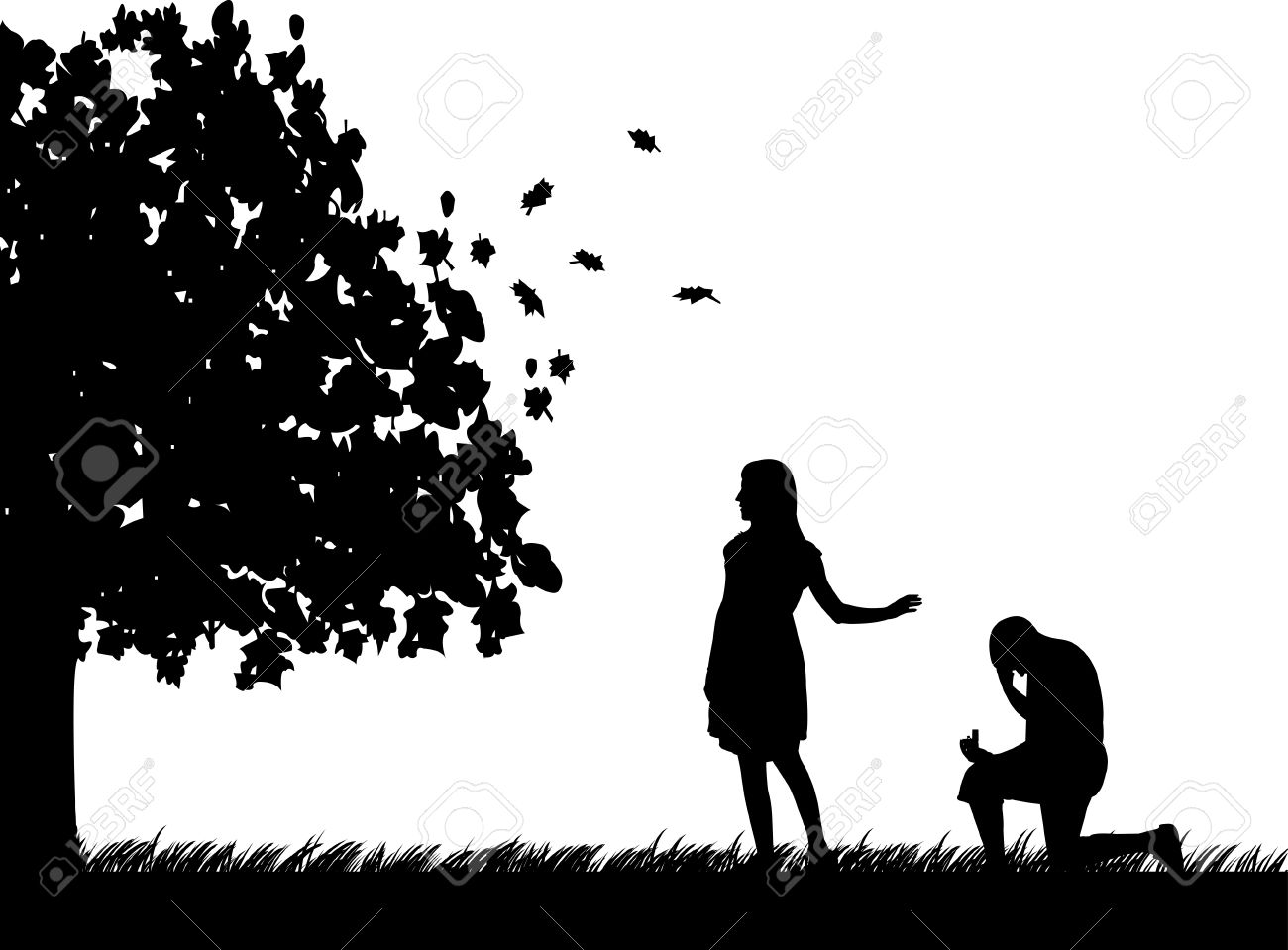 Man begs girlfriend, girl refuses marriage proposal in park in autumn or fall silhouette Stock Vector - 15314202