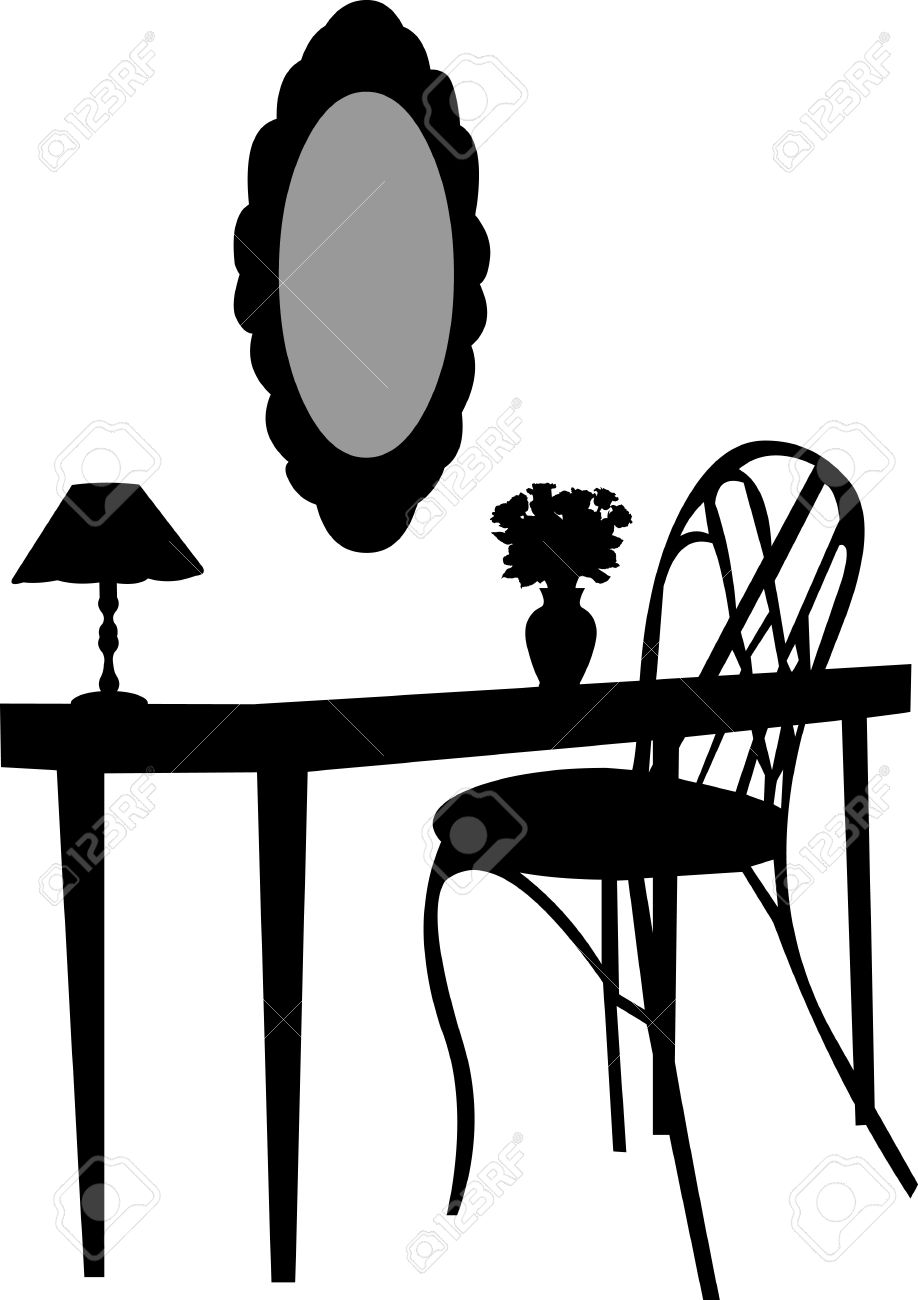 Antique chair silhouette - Interior Scene With Antique Furniture Old Mirror Dressing Table Chair Lamp And