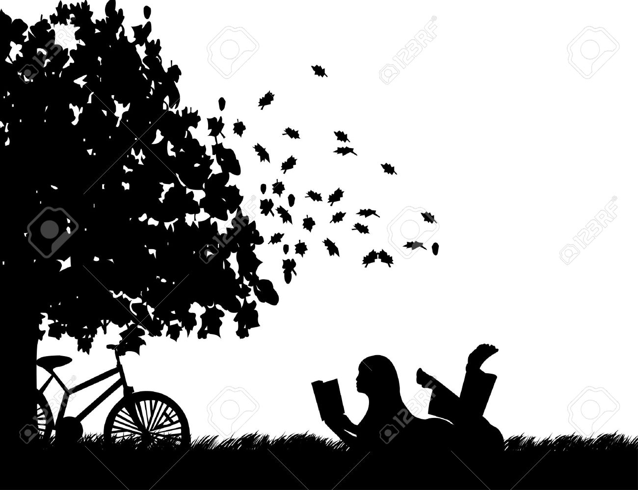 Silhouette of girl with bike reading a book under the tree in autumn or fall, one in the series of similar images Stock Vector - 15937344