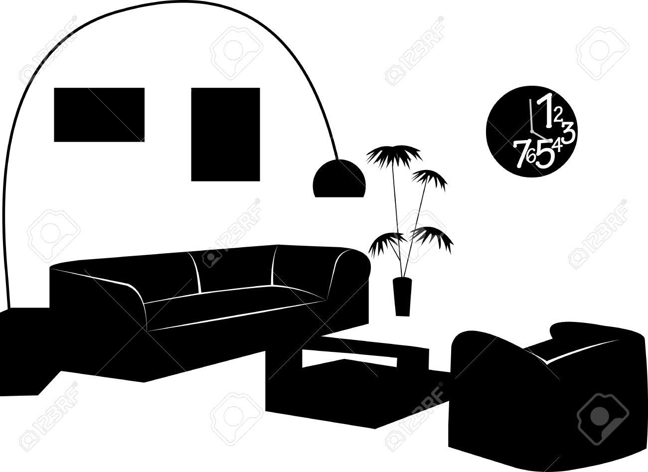 Elegant Best Teil Eines Modernen Wohnzimmer Mit Modernen Mbeln Silhouette Ein In  Der Reihe Von Hnlichen Bildern With Bilder Von Modernen Bdern.