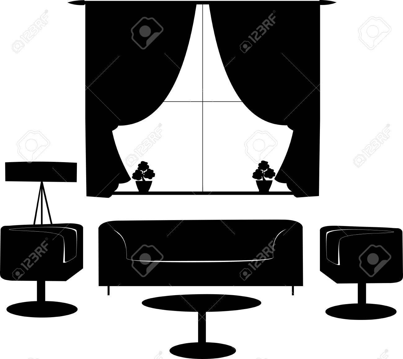Teil Eines Modernen Wohnzimmer Mit Modernen Möbeln Silhouette, Ein ... Fotos Von Modernen Bdern