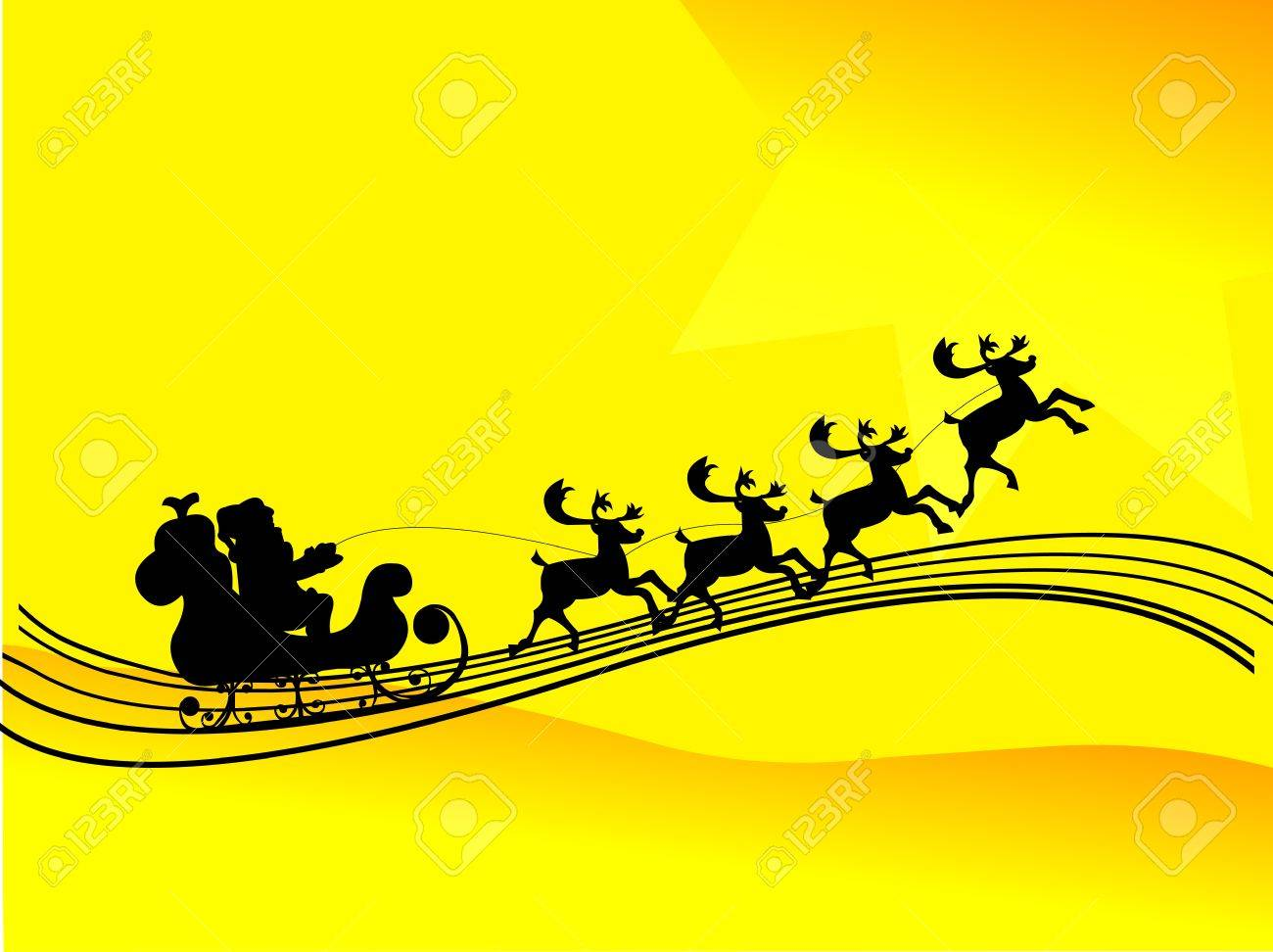 Santa Claus driving in a sledge silhouette in yellow background Stock Vector - 16240076