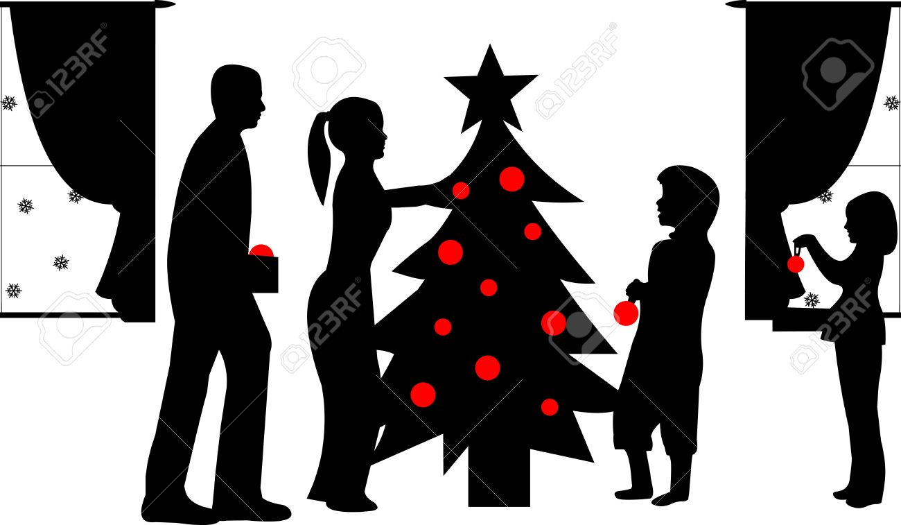 Black People Decorating For Christmas family decorating christmas tree in winter silhouette, one in