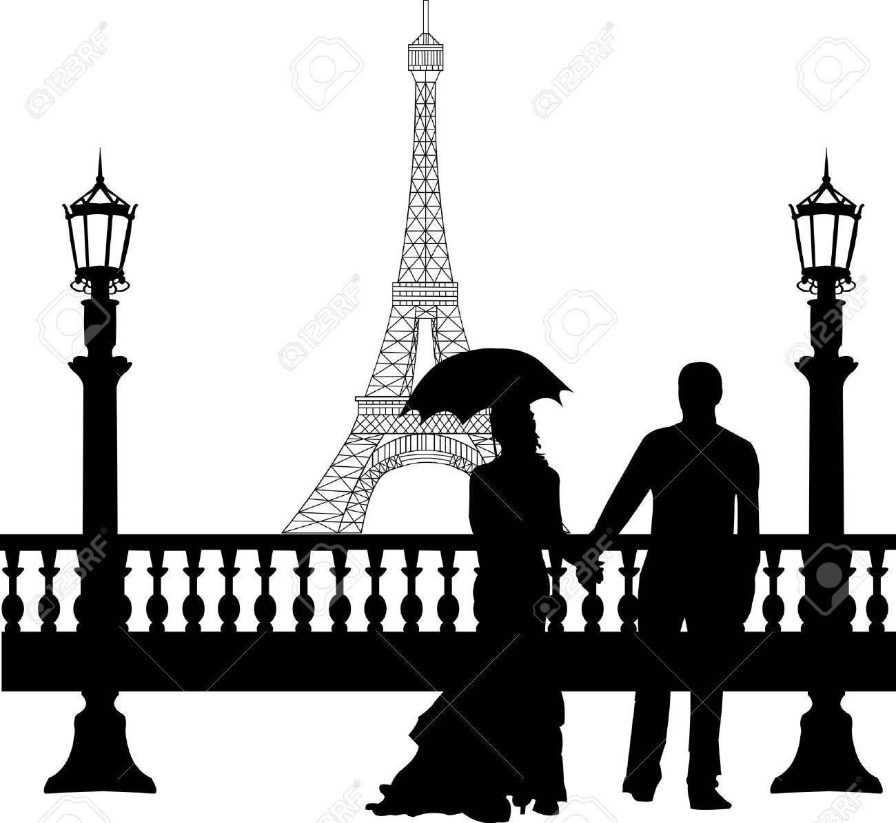 Wedding couple in front of Eiffel tower in Paris on Valentine s day silhouette, one in the series of similar images Stock Vector - 17222559