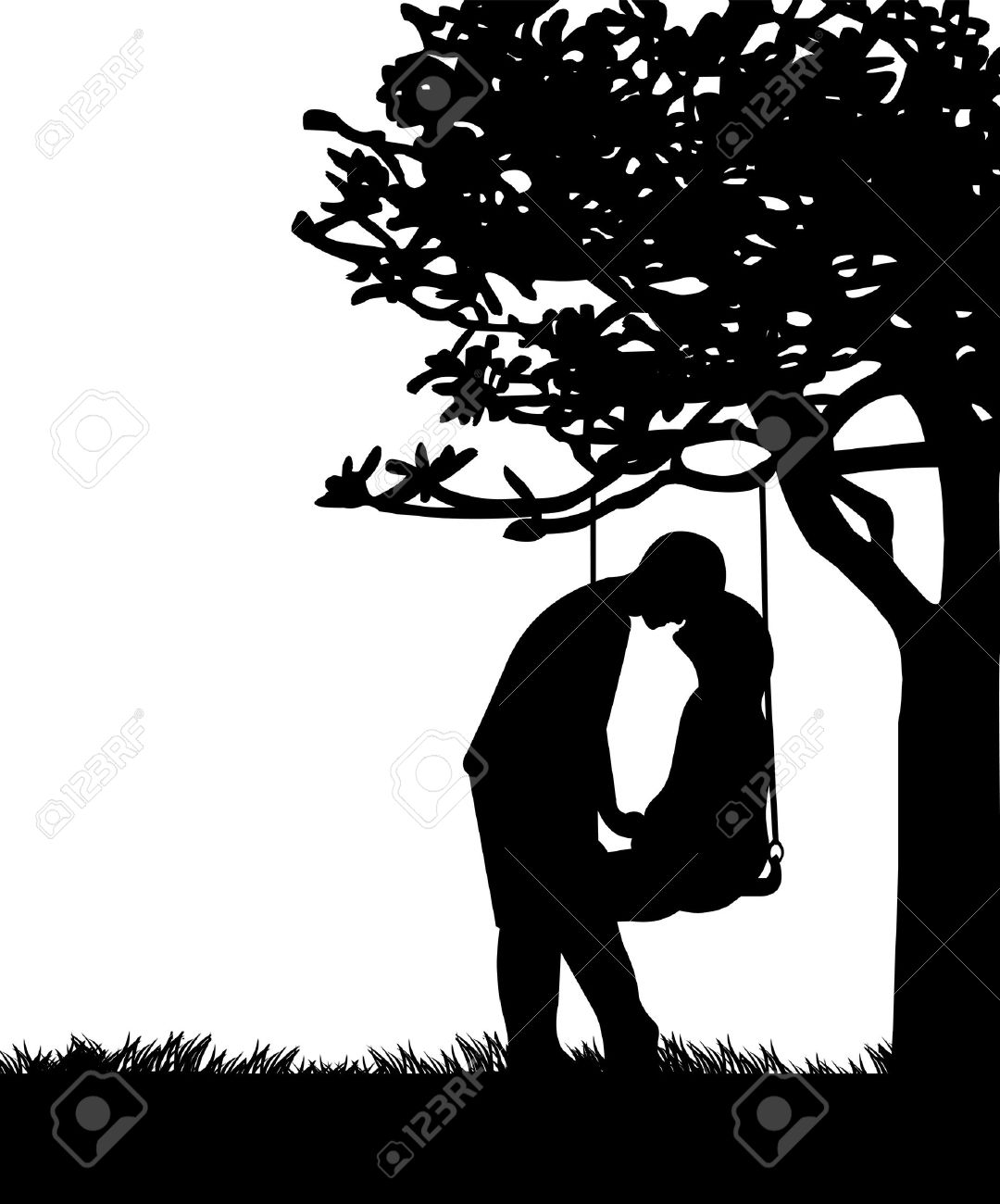 Couple in love on Valentine s Day on a swing in park or garden silhouette Stock Vector - 17358422