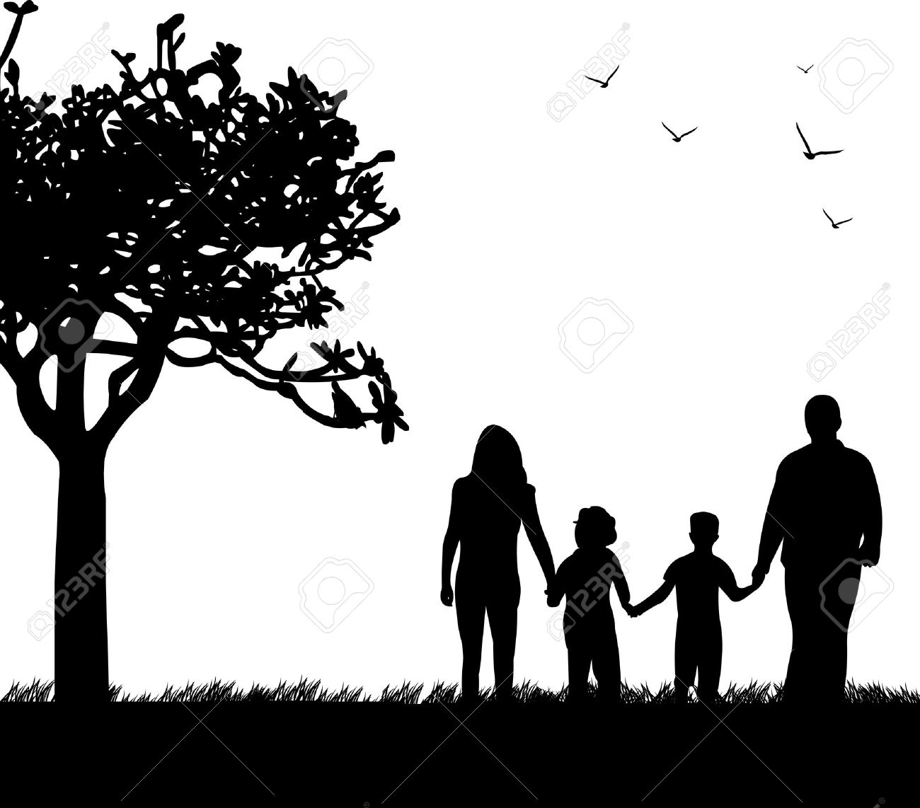 Family walking in park in spring silhouette, one in the series of similar images Stock Vector - 17612045