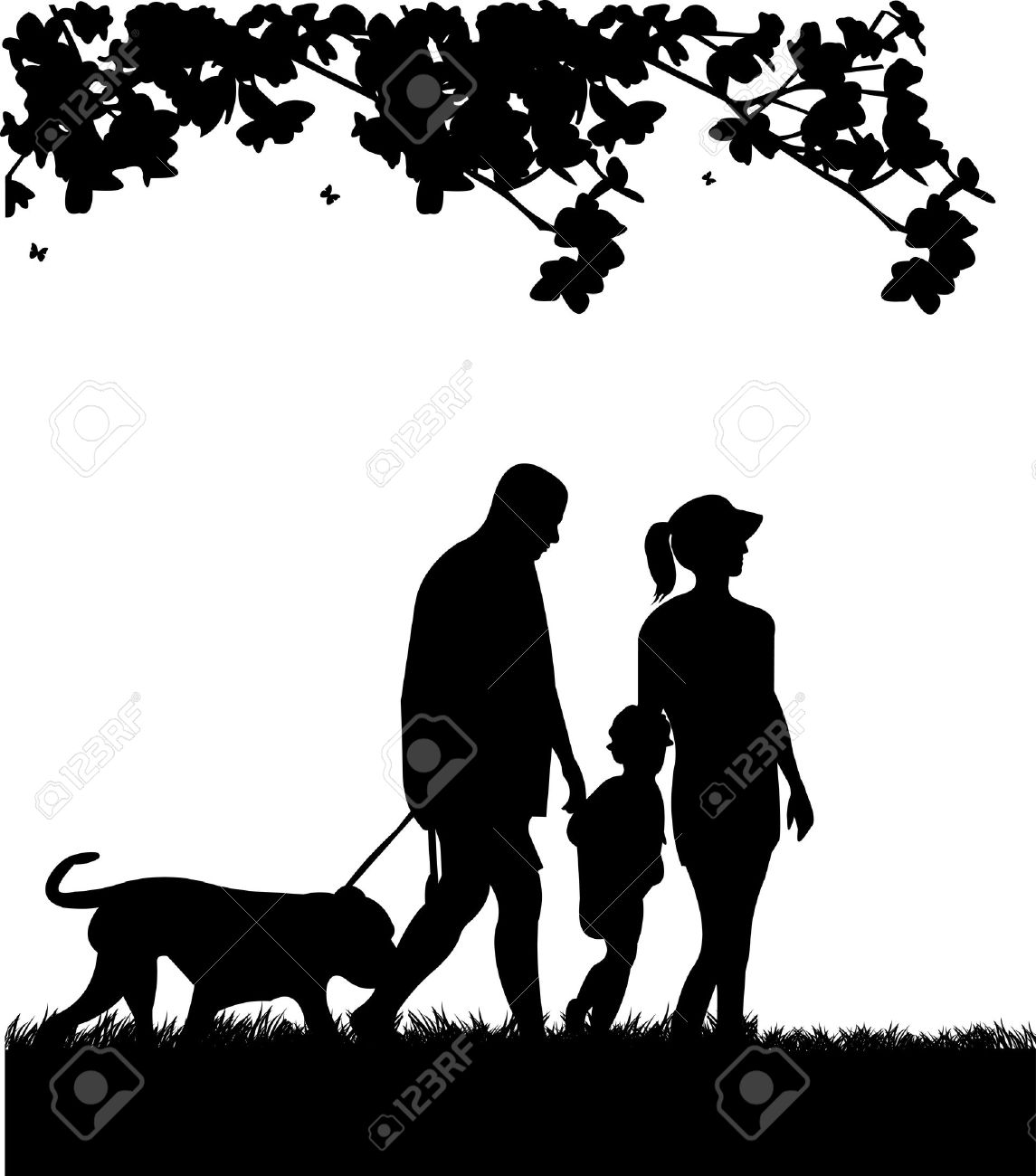 Family walking in park with dog in spring silhouette, one in the series of similar images Stock Vector - 17612054