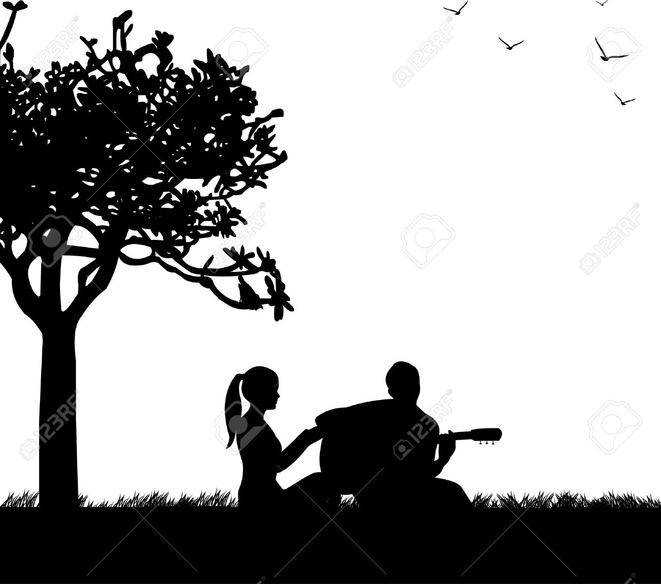 Couple in love where a guy plays guitar in park under the tree silhouette Stock Vector - 17953733