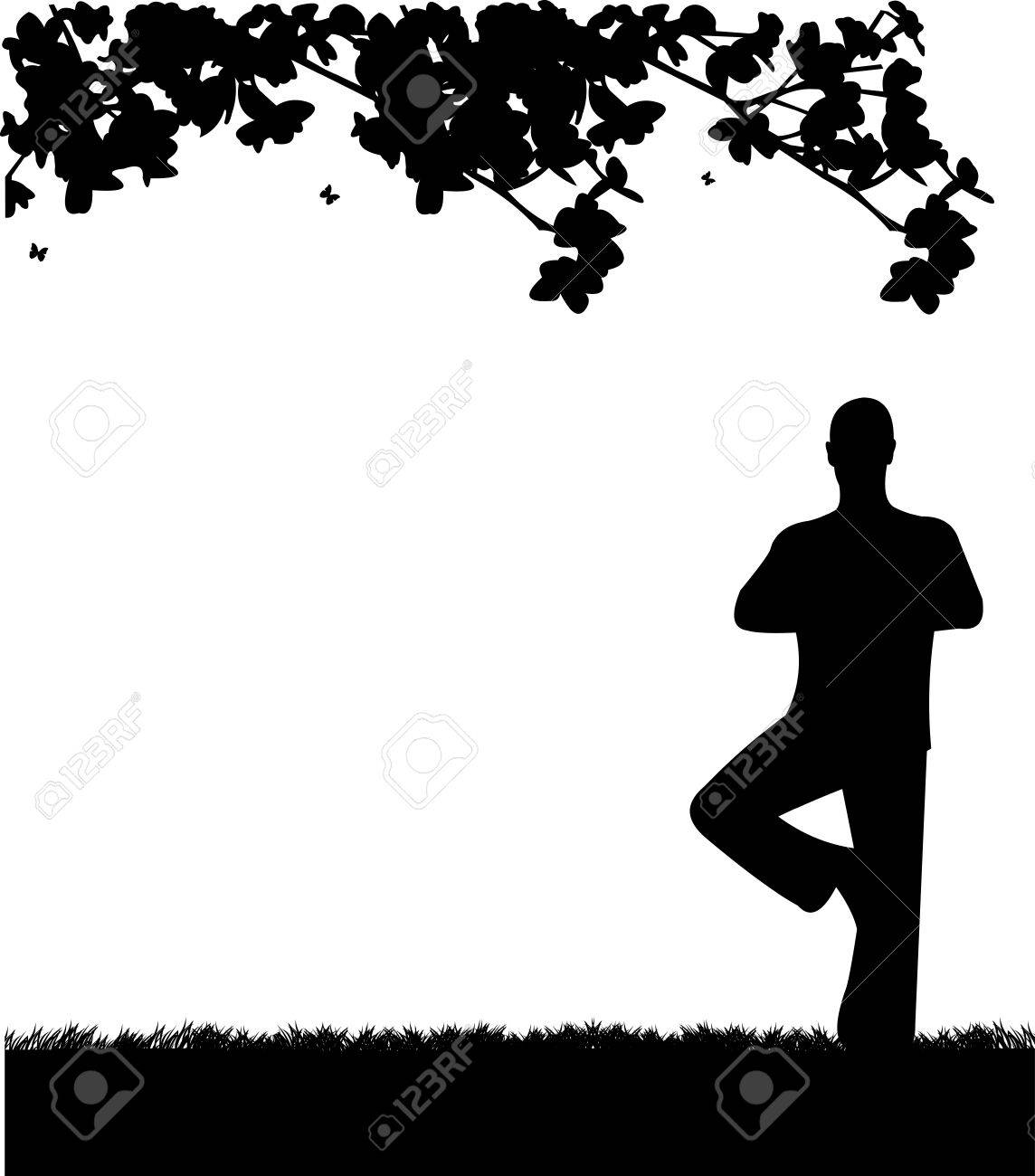 An isolated man meditating and doing yoga exercise under the tree in park in spring silhouette, one in the series of similar images Stock Vector - 18056639