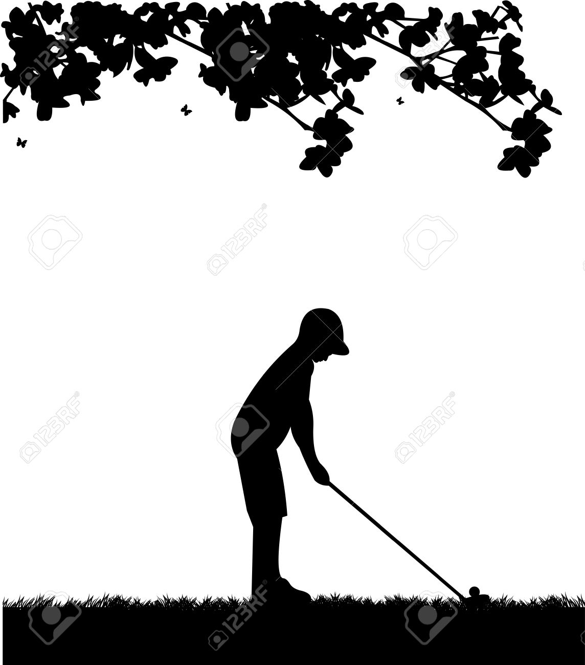 Male golf player in spring silhouette Stock Vector - 18282564