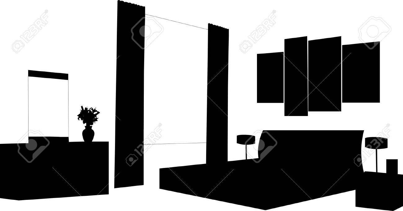 Partie d'un intérieur moderne chambre à coucher avec la silhouette ...