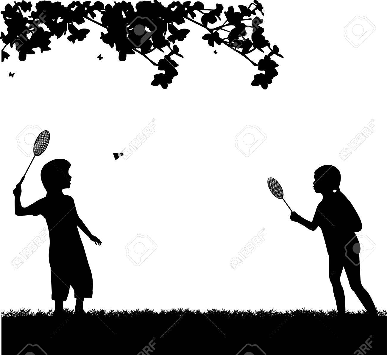Spring Silhouettes And Shadows >> Kids Playing Badminton Outdoor In Spring Silhouette One In The