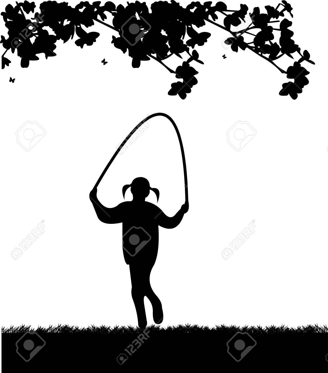 A little girl playing skipping rope in park in spring silhouette, one in the series of similar images Stock Vector - 18708611