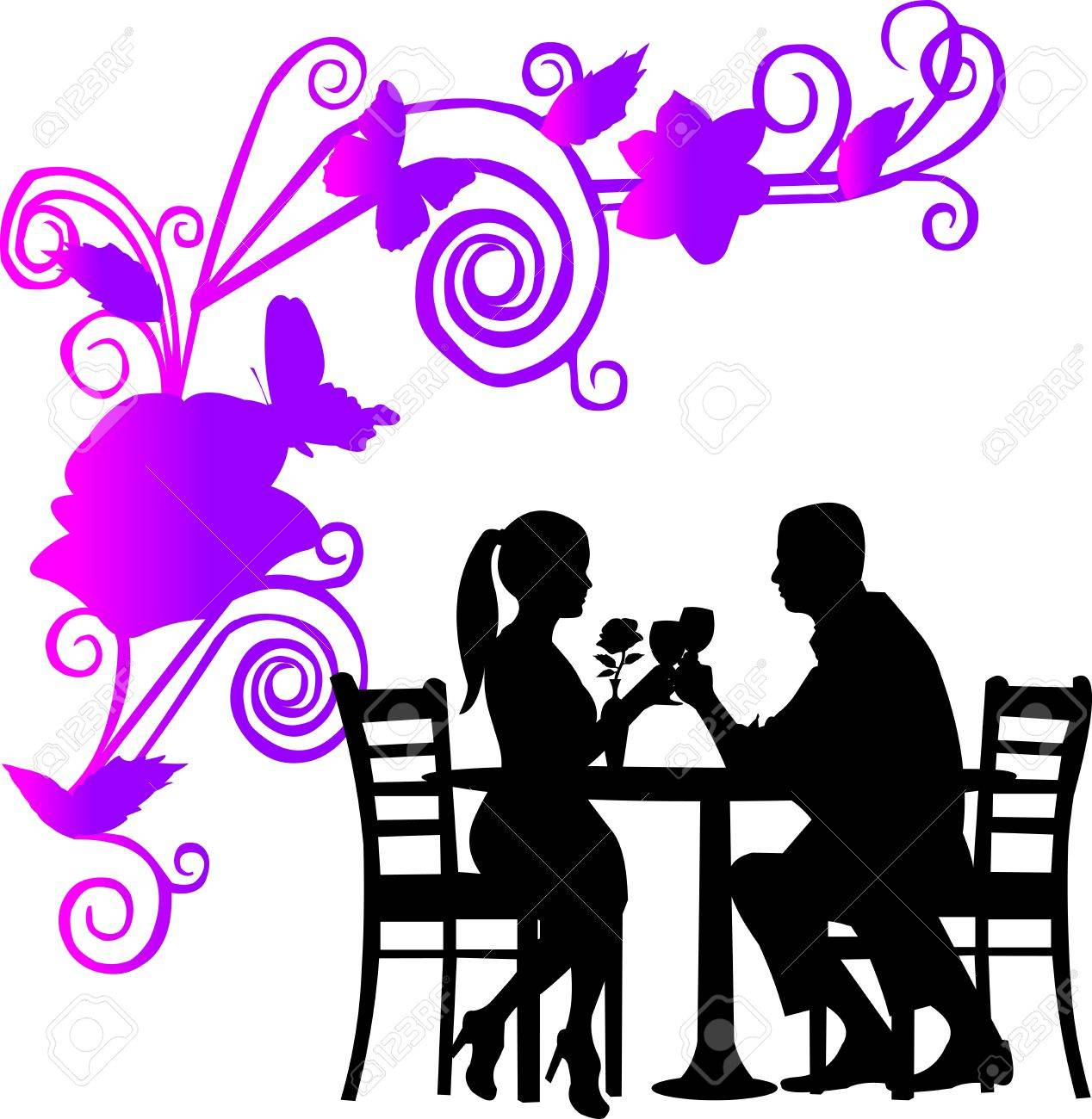 Restaurant Table Setting Clipart - Restaurant table background with flowers and butterflies and romantic couple in restaurant toast with glass