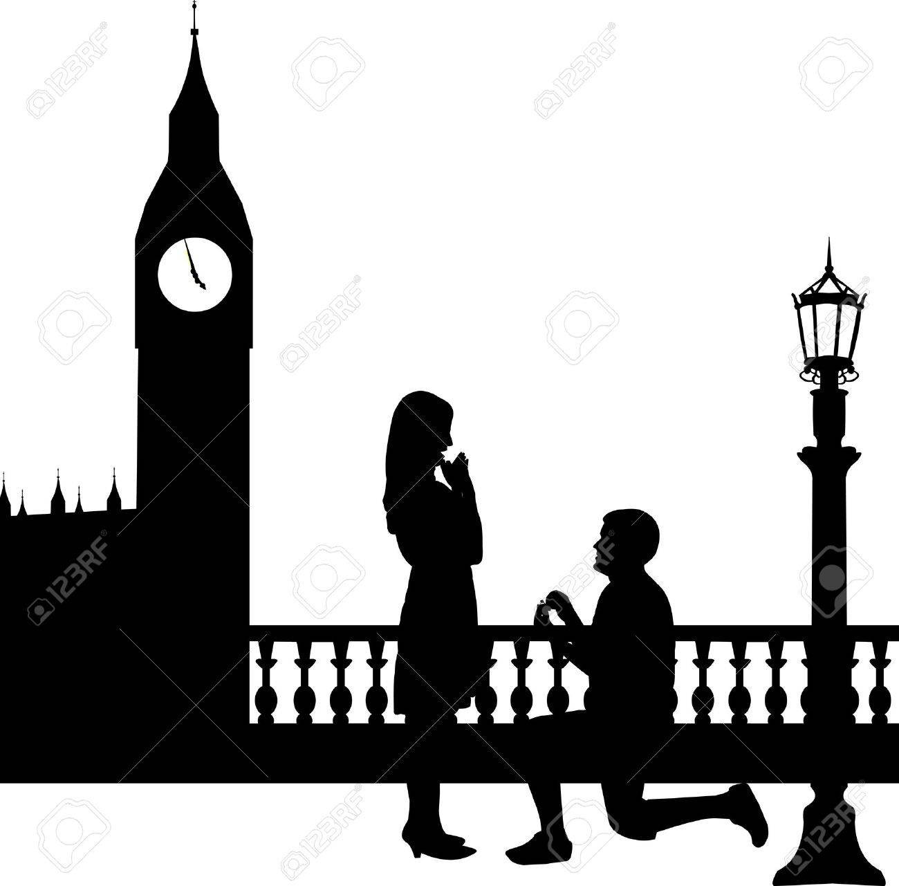 Romantic proposal in London in front of Big Ben of a man proposing to a woman while standing on one knee silhouettes, one in the series of similar images Stock Vector - 19116605