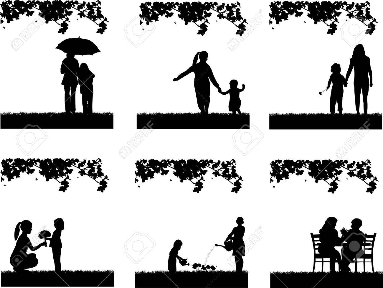 Mother s day celebration between mother and daughter in park, beautiful concept wallpaper for happy mother s day celebration, one in the series of similar images silhouette Stock Vector - 19137693