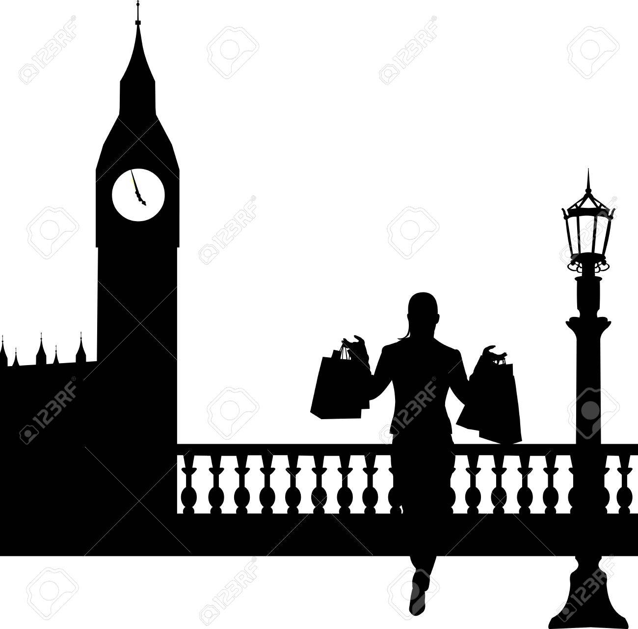 Woman in shopping in London in front of Big Ben silhouette, one in the series of similar images Stock Vector - 19532665