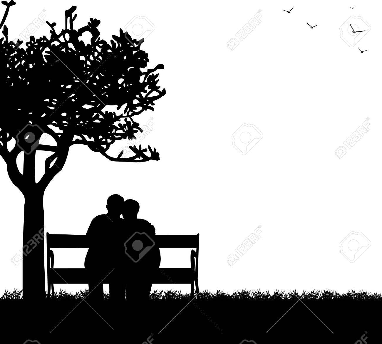 Lovely retired elderly couple sitting on bench in park, one in the series of similar images silhouette - 20482249