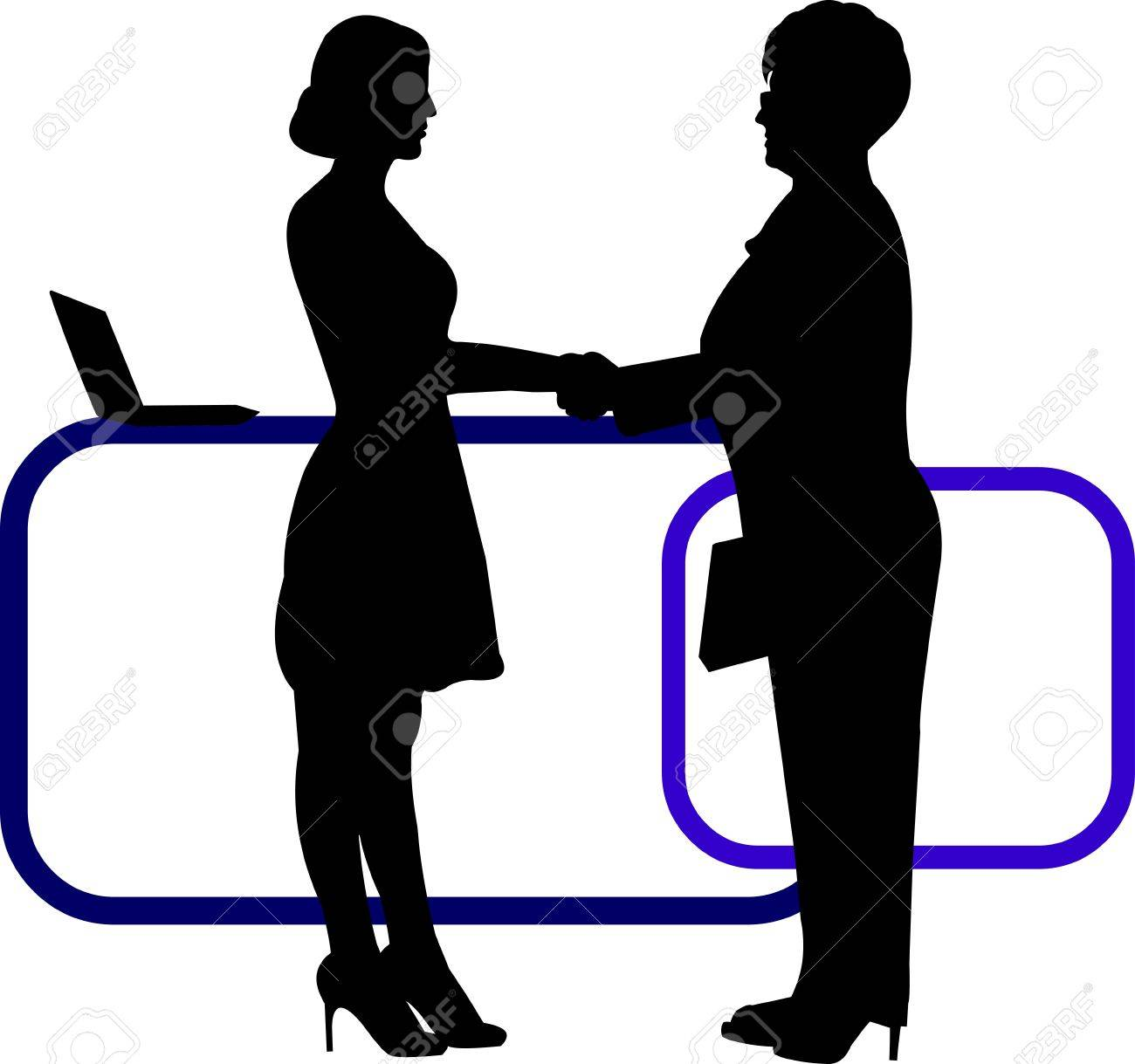 Business background with business people shaking hands in office silhouette on layered, one in the series of similar images Stock Vector - 21378054