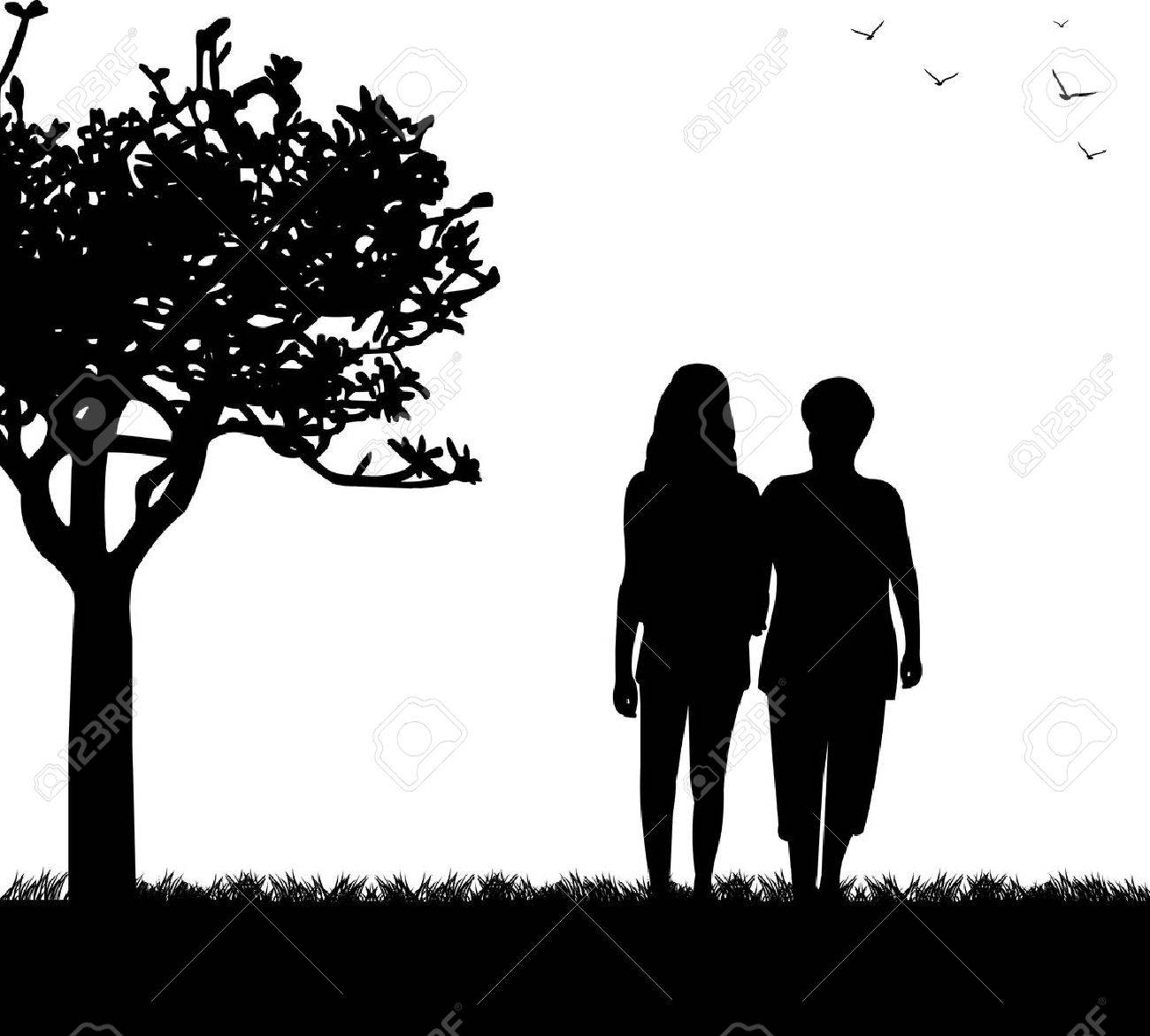 Madre E Hija Caminando En El Parque En La Serie De Imágenes