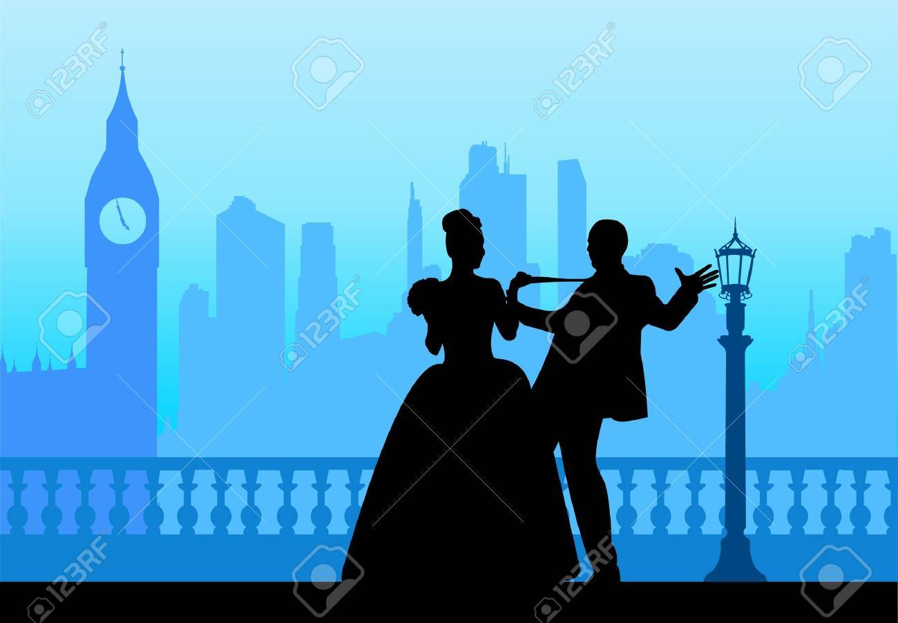 Wedding couple in front of Big Ben in London silhouette scene, one in the series of similar images layered Stock Vector - 22156720