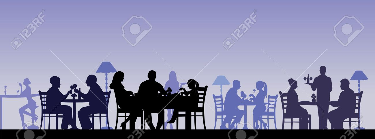 Silhouette of people eating in a restaurant with all figures as separate objects layered Stock Vector - 23683461