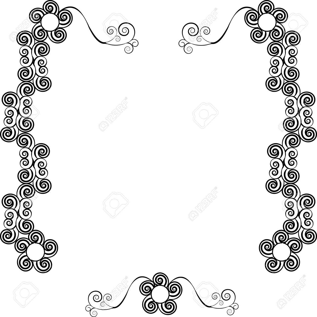 Decorative ornamental frame for text with swirls, one in the series of similar images silhouette Stock Vector - 25307707