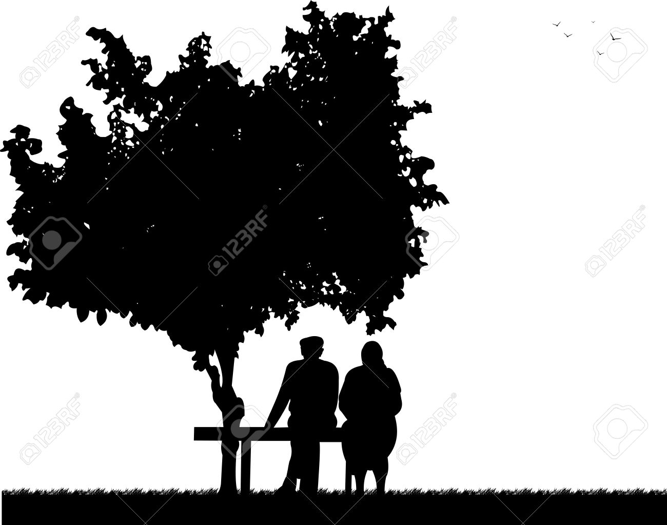 Very Old Couple Sitting On Bench In Park, One In The Series Of ... for People On Bench Silhouette  545xkb