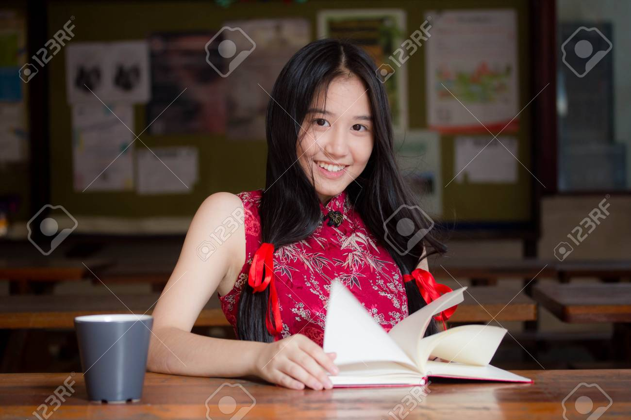 Portrait Of Thai Teen Beautiful Girl In Chinese Dress Read A