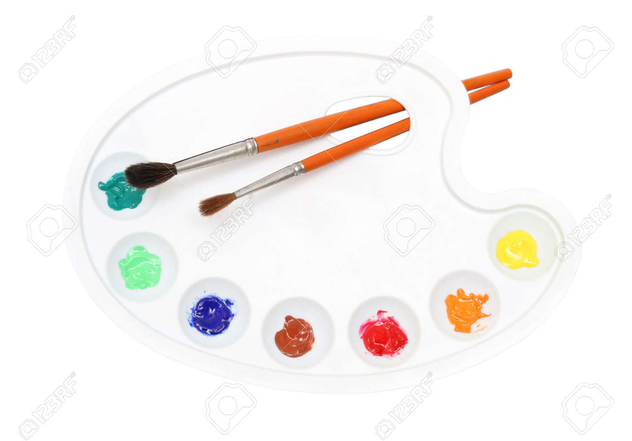 Painter's palette and paintbrushes, isolated. Stock Photo - 238459