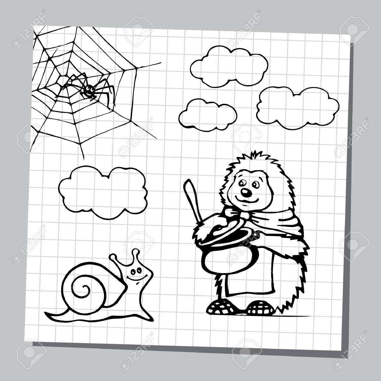 Set Of Cartoon Wild Animals And Insect Black And White Outline