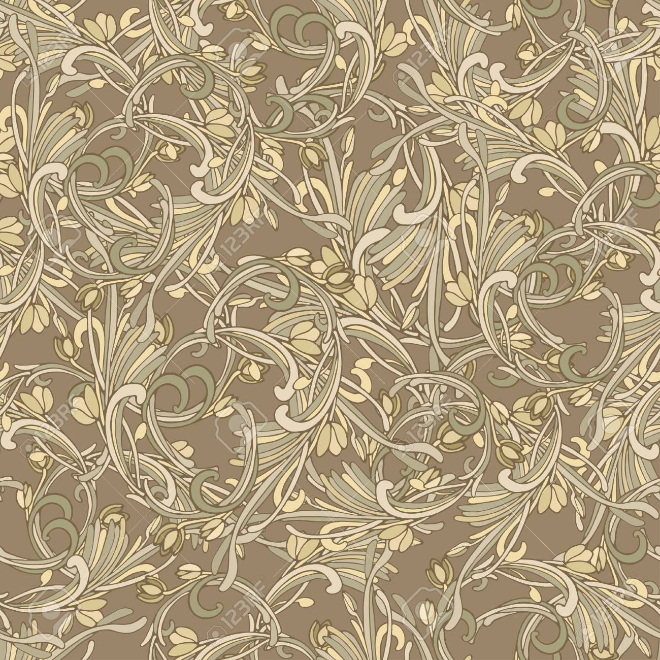 Seamless Background Baroque Style Brown Color Vintage Luxury