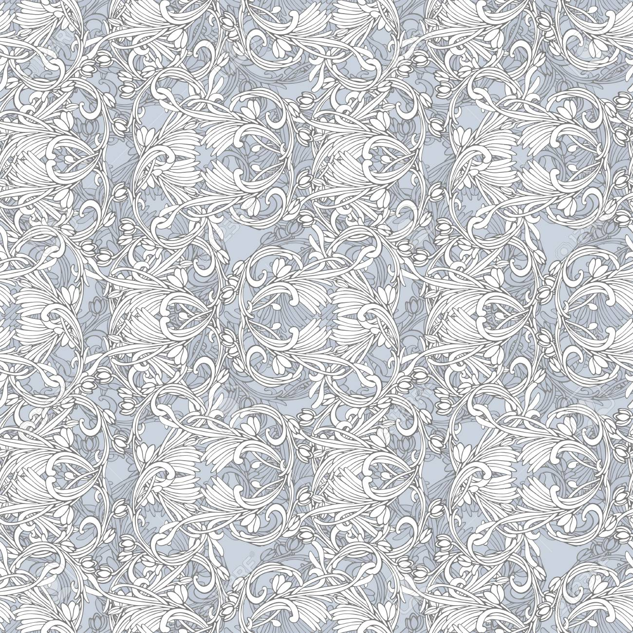 Seamless White And Blue Damask Wallpaper Stock Photo Picture And