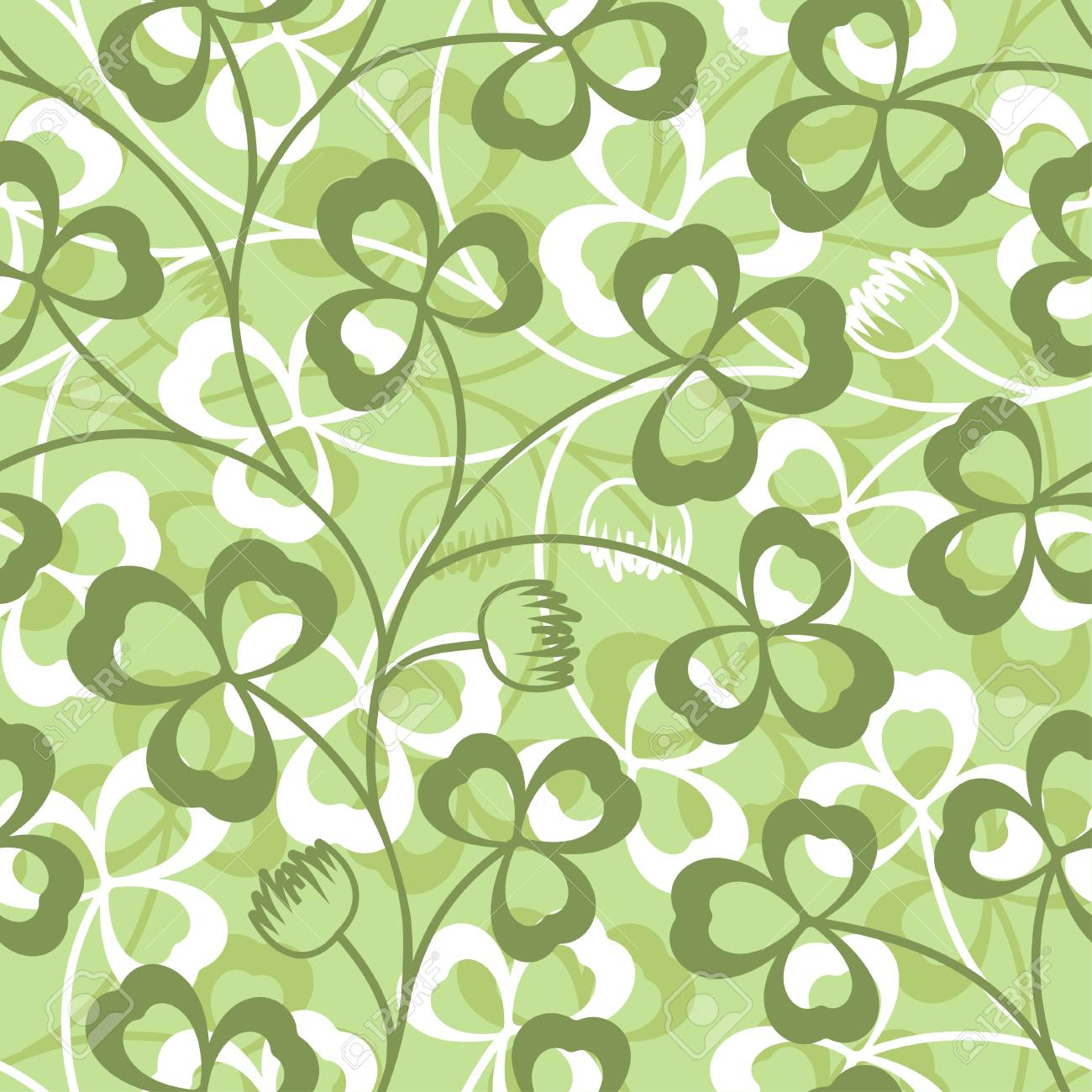 Clover Leaves Seamless Vector Pattern St Patrick S Day Green