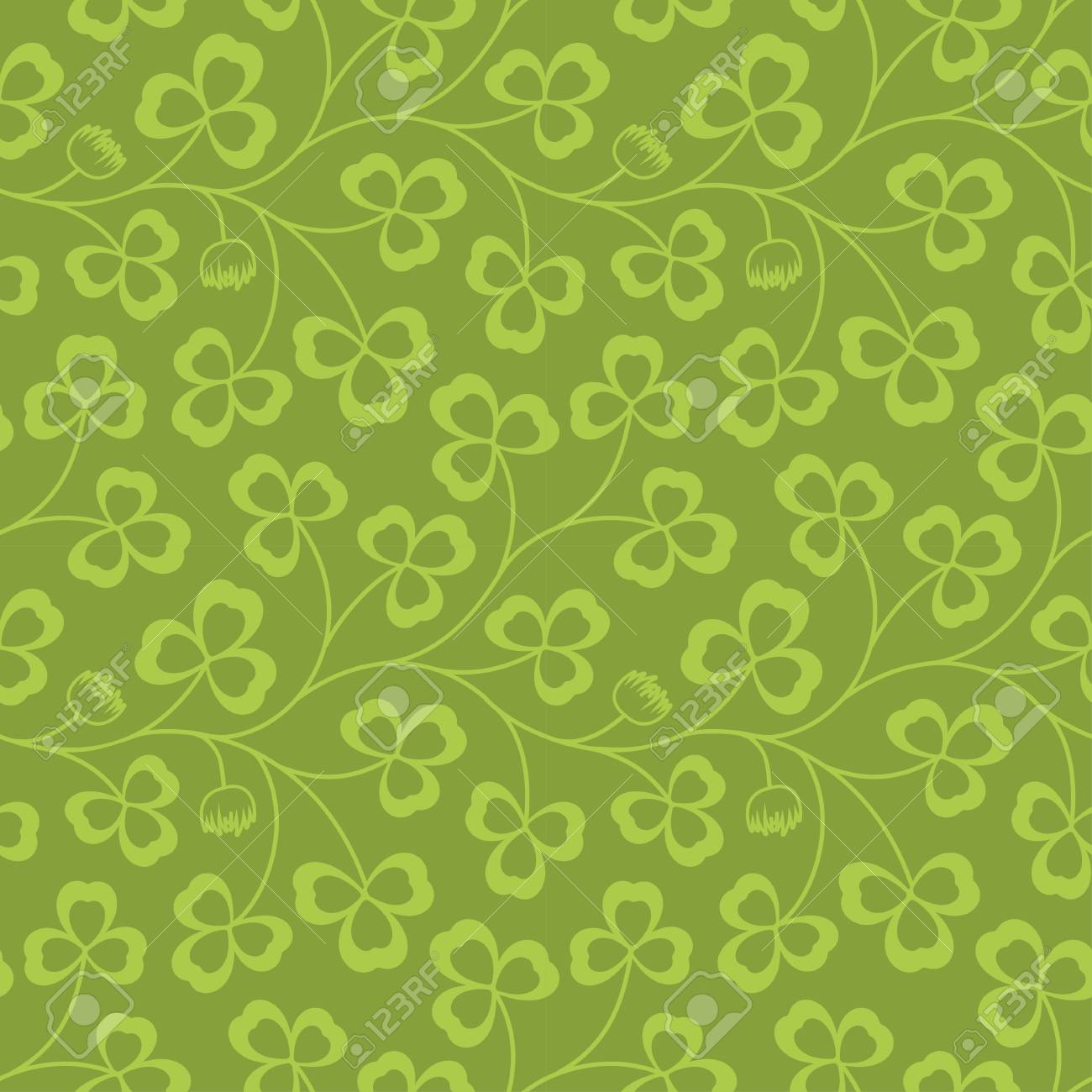 Clover Leaves Seamless Pattern St Patrick S Day Green Background
